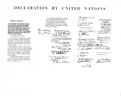 Declaration by United Nations Issued in Washington, DC, Pledges Struggle against &#034;Hitlerism&#034;