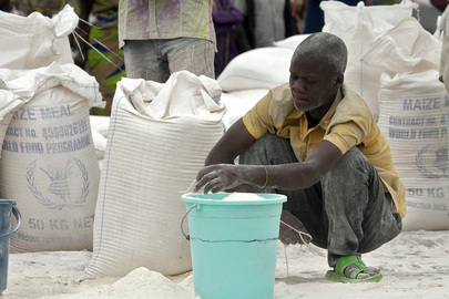 IDP Resident Collects Food Ration