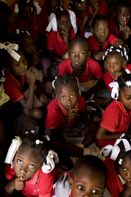 Haitian Children Wait for Food Service
