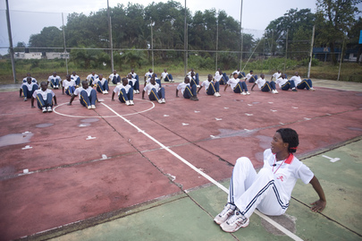Female Peacekeeper Leads Morning Exercises at UNMIL Base