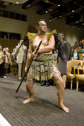 Maori Artist Performs Traditional Dance