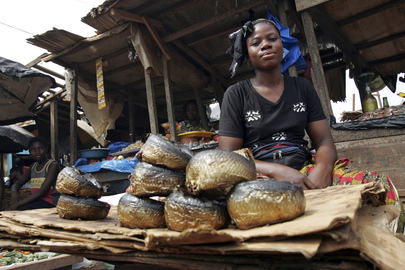 Market Woman Sells Smoked Fish