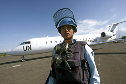 MONUC Peacekeeper Deployed on Security Detail