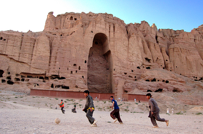 Afghan Boys Play Football at Site of Bamyan Buddha