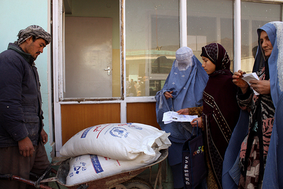 Afghan Women Receive Food Rations
