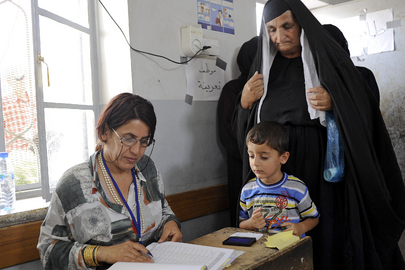 Voter at Polling Station in Kurdistan Region of Iraq