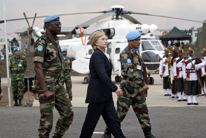 US Secretary of State Escorted by MONUC Troops at Goma Airport