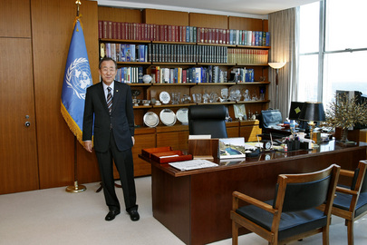 united nations photo secretary general ban ki moon in his office