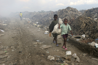 Children Scavenge for Valuables in Garbage Dump in Haiti