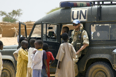 Peacekeeper with Sudanese Refugee Children