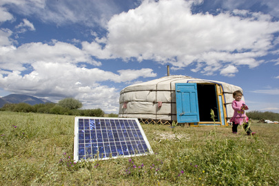 Mongolian Family Uses Solar Energy to Power Home