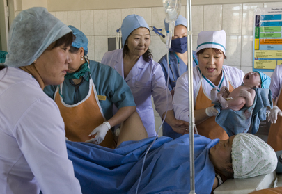Newborn Child Delivered in Mongolia Hospital