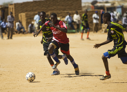 Sudanese Men Play Football for 'End Violence against Women' Campaign