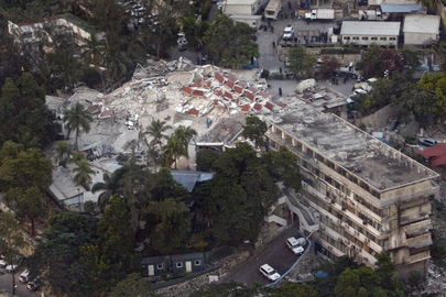 Aerial View of UN Headquarters in Port-au-Prince After Quake