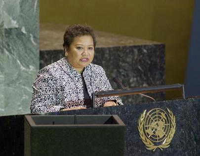 Her Excellency Mrs. Sandra Pierantozzi, Vice-President and Minister of Health of the Republic of Palau
