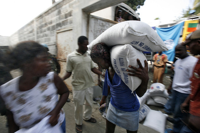 Residents of Léogâne, Haiti, Receive Food Bags