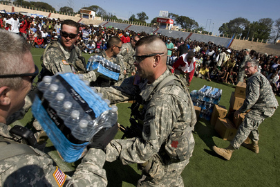 U.S. Soliders Deliver Food and Water to Haiti Capital