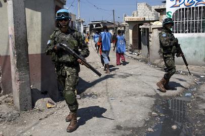 Brazilian UN Peacekeepers Patrol Haiti Slum
