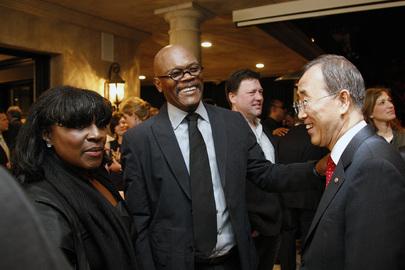 Secretary-General Meets Actor Samuel L. Jackson and Wife at L.A. Reception