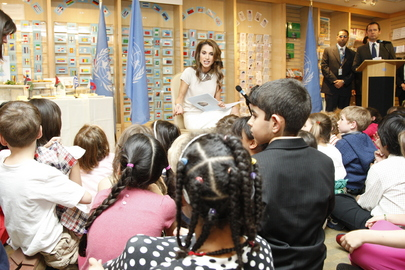 Queen of Jordan Presents Children's Book at UN Headquarters