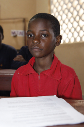 Child at Millennium Village School in Malawi