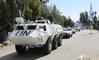 UNDOF Vehicles Roll Past in Change of Command Ceremony
