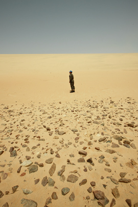 MINURSO Officer on Patrol in Mijek, Western Sahara