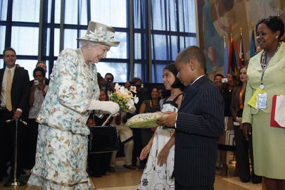 Children Present Bouquet to Queen Elizabeth II upon Departure