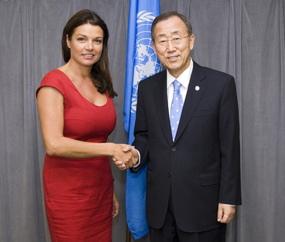 Secretary-General Meets UNFPA Goodwill Ambassador Goedele Liekens
