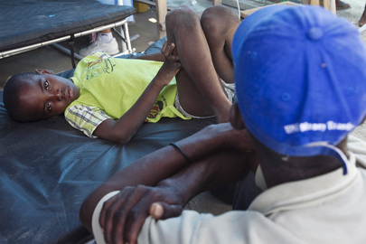 Boy Receives Treatment for Cholera in L'Estere, Haiti
