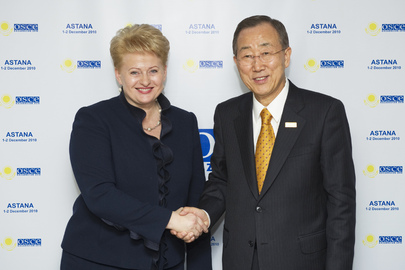 Secretary-General Meets President of Lithuania at OSCE Summit