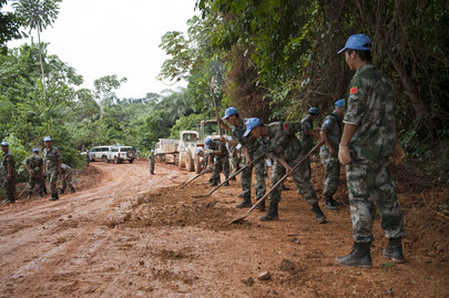 UNMIL Engineers Build Road near Zwedru, Liberia
