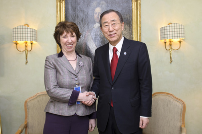 Secretary-General Meets E.U. Foreign Affairs Representative in Munich