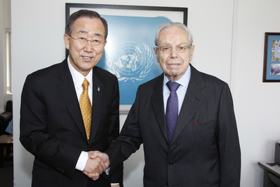 Secretary-General Meets Former Secretary-General Pérez de Cuéllar in Lima
