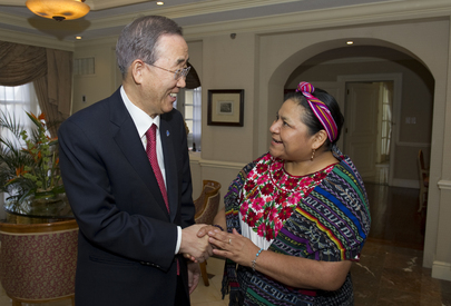 Secretary-General Meets Nobel Laureate Rigoberta Menchú in Guatemala City
