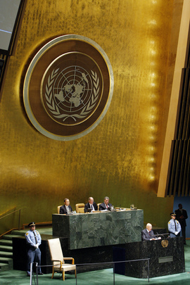 Italian President Giorgio Napolitano addresses the UN General Assembly