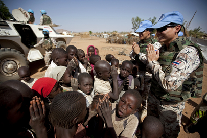 UNAMID Peacekeepers Work in West Darfur Refugee Camp