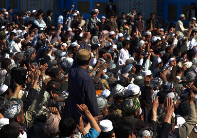 Protests near UNAMA Offices in Mazar-i-Sharif, Afghanistan