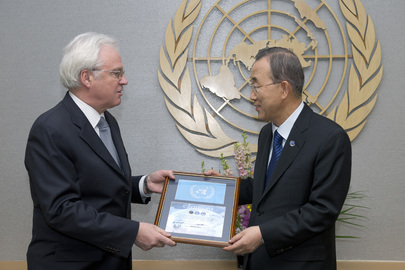 Russian Representative Presents Secretary-General with UN Flag Flown into Space