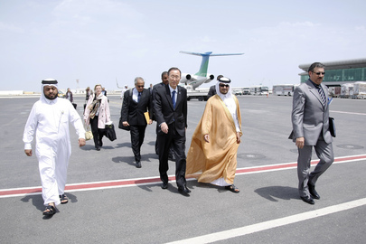 Secretary-General Arrives in Doha for Contact Group Meeting on Libya