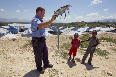 UNPOL on Patrol in Haiti Camp for Displaced