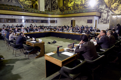 A view inside the 1223rd plenary meeting on the Conference on Disarmament, in Geneva, Switzerland.
