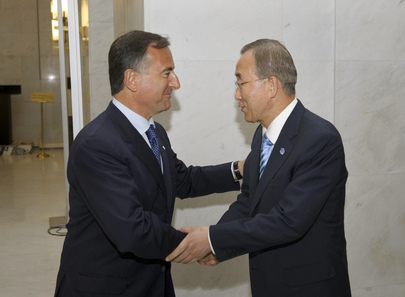 Secretary-General Greeted by Foreign Minister of Italy