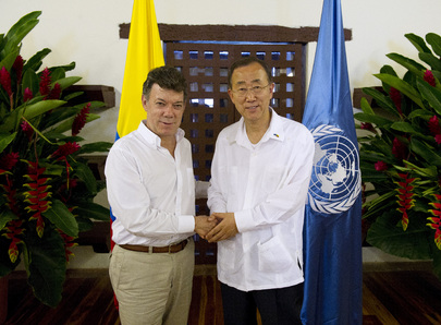 Secretary-General Meets Colombian President in Cartagena