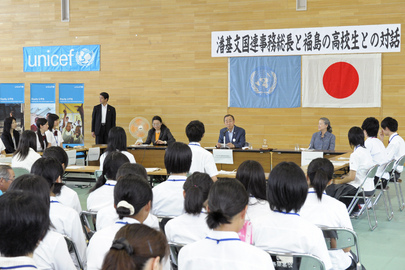 Secretary-General Visits High School in Fukushima, Japan
