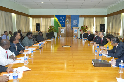 Secretary-General Meets Prime Minister of Solomon Islands