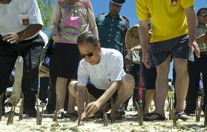 Secretary-General Ban Ki-moon plants mangrove shoots on Tarawa, the main atoll in the Pacific island nation of Kiribati. Mangroves help to protect against the rising sea levels caused by climate change. 05 September 2011 Tarawa, Kiribati