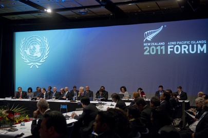 A view inside the 42nd Pacific Islands Forum in Auckland, New Zealand, as Secretary-General Ban Ki-moon (left) addresses the forum. 06 September 2011 Auckland, New Zealand