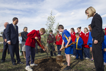 Secretary-General Plants Tree in Australian Area Destroyed by Bush Fire