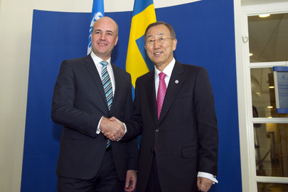 Secretary-General Meets Swedish Prime Minister in Stockholm